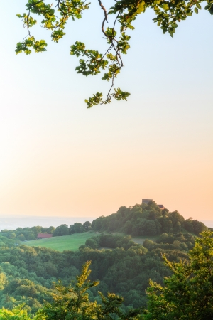 Giechburg Castle and Guegel Chapel Landscape Panorama in Summer in Bavaria after sunset photo