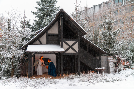 Outdoor Christmas Crib in Bamberg, Bavaria   Germany on a snowy december winter day photo