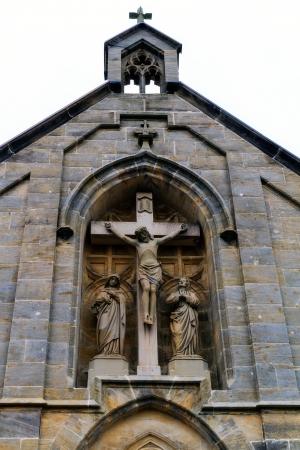 reverent: Cross on a Christian Chapel Stock Photo