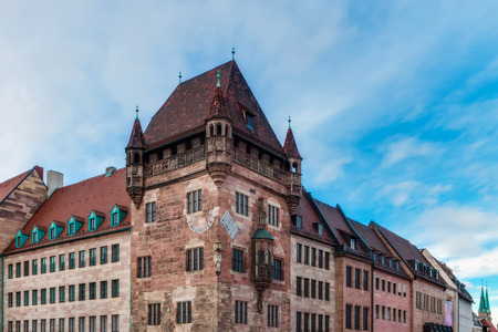 Historical Tower in the City of Nuremberg, Bavaria   Germany  On a cloudy afternoon in January  Ancient Architecture photo