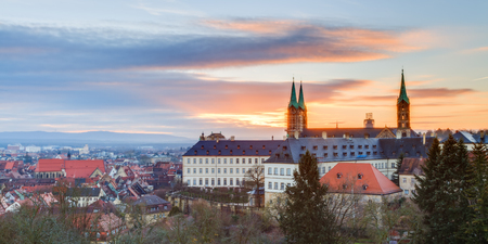 unesco world cultural heritage: Panorama View on the cathedral of Bamberg   Germany  Picture was taken in the morning hours at sunrise Stock Photo