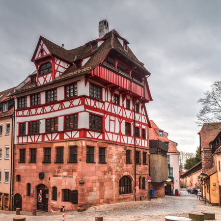 durer: Historical Albrecht Durer House in Nuremberg, Bavaria   Germany on a cloudy afternoon