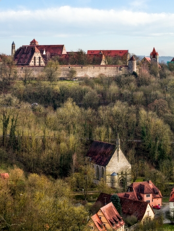 der: Cityscape of the famous medieval city of Rothenburg in Bavaria, Germany  Travel Location and Tourism Place in Franconia