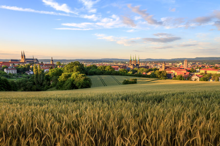 Cityscape View on the old churches of the old german medieval city of Bamberg on a sunset in Summer Standard-Bild