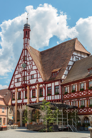 half  timbered: Historical City Hall of Forchheim in german Oberfranken, Bavaria. Picturesque Half Timbered Building with little bell tower. Cloudy sky Editorial