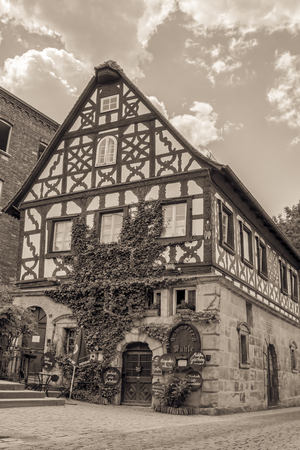 half  timbered: Kammerers Mill in the german City of Forchheim in Oberfranken. Historical Picturesque Half Timbered Building