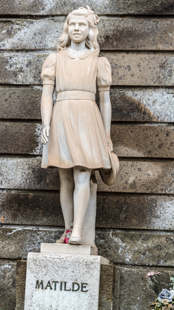 ROME, ITALY - MARCH 25 2014: Outdoor Picture of a Statue of a girl named Matilde from the famous Cemetary Campo Verano near San Lorenzo on March 25 2014 in Rome in Italy