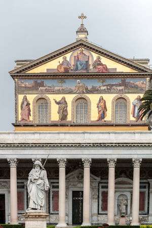 Statue of St. Paul with his sword in front of the Church St. Paul outside of the Walls of Rome Stock Photo