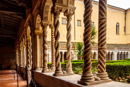 paulus: ROME, ITALY - MARCH 24 2014: Famous Winding Columns in the Church St. Paul outside of the Walls of Rome