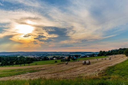 rural countryside: Idyllic Bavarian Rural Countryside Summer Landscape in Upper Franconia, Germany  Stock Photo