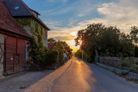 half  timbered: Rustic Bavarian Village in the Evening with Old Half Timbered House