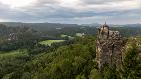 monch: The Monch, a famous Sandstone Rock Formation in the Saxonian Swiss in Germany, shot on a warm summer morning