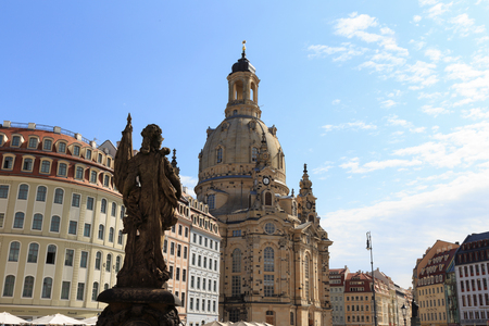 inner city: Dresden Historical Inner City. View on the rebuild Womans Church and Baroque Houses