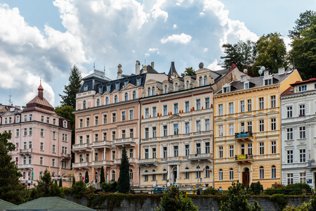 karlovy: CARLSBAD, CZECH REPUBLIC - AUGUST 21 2014: Historical Buildings in the city of Karlovy Vary, Carlsbad in the czech republic, famous for its hot springs. travel destination and health resort