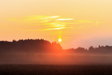 Foggy Bavarian Sunrise. Lovely Mist in the rural countryside of Upper Franconia photo
