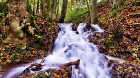 Autumn Waterfall in an October Forest. Lovely Colors of the Fall in Bavaria photo