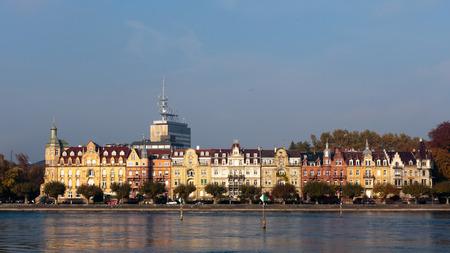 Constance DUITSLAND - 2 november 2014: Historische Huizen in Konstanz in Baden Württemberg, Duitsland aan het Bodenmeer Stockfoto