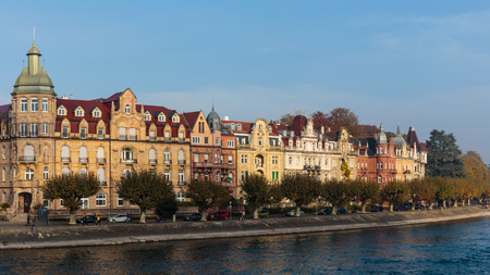 baden wurttemberg: CONSTANCE, GERMANY - NOVEMBER 02 2014: Historical Houses in Constance in Baden Wurttemberg, Germany at Lake Constance