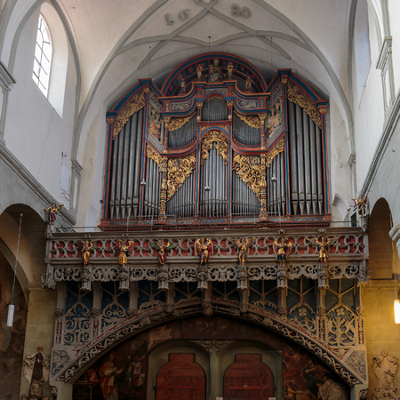 baden wurttemberg: CONSTANCE, GERMANY - NOVEMBER 02 2014: Lovely Organ in the cathedral of Constance in Baden Wurttemberg