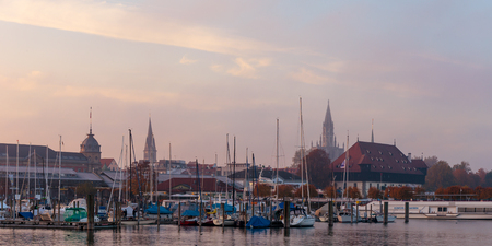 baden wurttemberg: CONSTANCE, GERMANY - NOVEMBER 02 2014: Evening Outdoor Picture of Constance Harbor in the city of Constance in Baden Wurttemberg, Germany Editorial