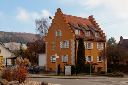 baden wurttemberg: IMMENDINGEN, GERMANY - NOVEMBER 09 2014: outdoors shot of a historical house in the village of Immendingen in Baden Wurttemberg, Germany Editorial