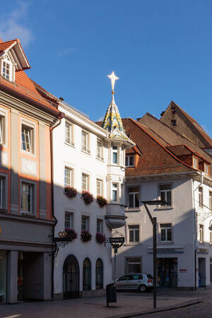 baden wurttemberg: VILLINGEN, GERMANY - NOVEMBER 09 2014: Old Town Center of Villingen in Baden Wurttemberg with historical houses. Blue Sky on a lovely day