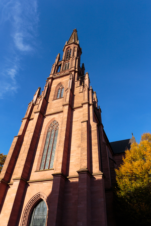 baden wurttemberg: Protestant Church of Offenburg in Baden Wurttemberg, Germany. Upwards view
