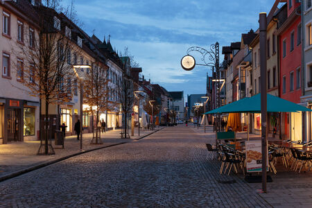 baden wurttemberg: VILLINGEN, GERMANY - NOVEMBER 00 2014: German City of Villingen. Old Town in the Evening in Baden Wurttemberg
