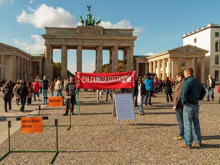 BERLIN, GERMANY - OCTOBER 13 2012: Demonstration for better education in Berlin at the Brandenburger Tor