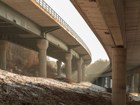autobahn: German Autobahn in the Morning. Sunrays in Winter