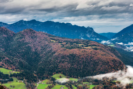 Idyllic Autumn Scenery at Berchtesgaden in Berchtesgaden, Germany. Lovely colorful trees in the highlands of Bavaria photo
