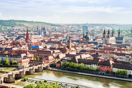 Wuerzburg City Panorama. Medieval City with famous church towers in Bavaria near Munich