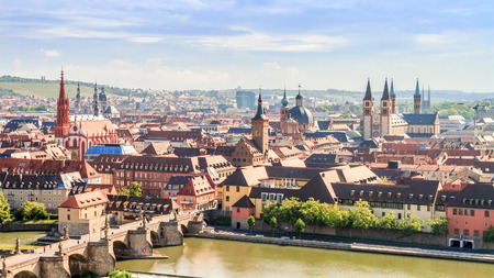 Wuerzburg City Panorama. Medieval City with famous church towers in Bavaria near Munich photo