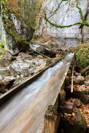 cours d eau: Valley with Watercourse and Waterfalls in Autumn near Neuschwanstein, Germany, taken in autumn October