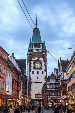 freiburg: FREIBURG, GERMANY - DECEMBER 13 2014: City of Freiburg in Breisgau, Germany in December. Medieval Architecture and historical buildings Editorial