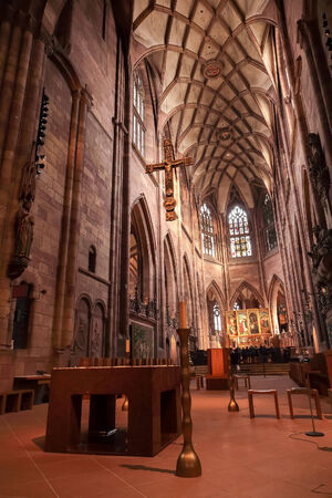 freiburg: FREIBURG, GERMANY - DECEMBER 13 2014: German catholic Cathedral of Freiburg interior