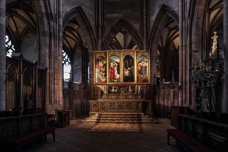 high altar: FREIBURG, GERMANY - DECEMBER 13 2014: Baroque High Altar in Freiburg Cathedral Editorial