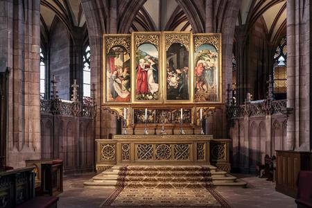 FREIBURG, GERMANY - DECEMBER 13 2014: Baroque High Altar in Freiburg Cathedral