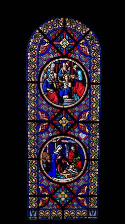 colored window: Lovely colored window in the Cathedral of Basel city, Switzerland