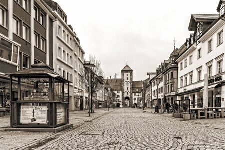 baden wurttemberg: VILLINGEN, GERMANY - NOVEMBER 09 2014: German City of Villingen. Medieval Old Town with historical buildings in the Morning in Baden Wurttemberg