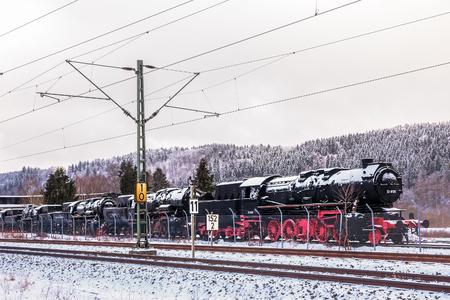 inoperative: Historical inoperative Locomotive near Stuttgart on old rails