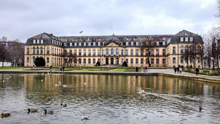 the 19th century: STUTTGART, GERMANY - JANUARY 25: City of Stuttgart. New Palace. 19th century architecture. Picturesque Winter Atmosphere