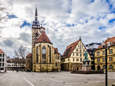 baden wurttemberg: STUTTGART, GERMANY - JANUARY 25: City of Stuttgart. Modern and Old Buildings in the swabian capital of Baden Wurttemberg. Lovely and Picturesque Architecture. Editorial