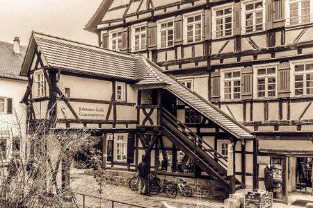 baden wurttemberg: TUEBINGEN, GERMANY - JANUARY 20 2015: Tuebingen Old Town. Lovely Medieval Historical Houses. Vintage Black and White Sepia
