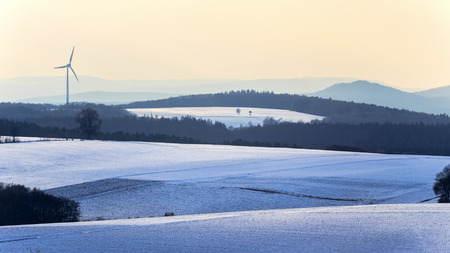 jura: Cold snowy winter wonderland in the franconian Jura Region of Bavaria, Germany. Sweet Solitude. White and Lonely Landscape Stock Photo