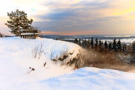 Cold snowy winter wonderland in the hills of the franconian Jura Region of Germany. Sweet Solitude. Cold and Lonely Landscape. Fantastic Light