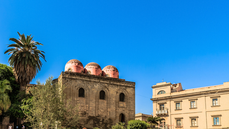 cupolas: Church in the City of Palermo, Italy on the island of Sicily with famous cupolas
