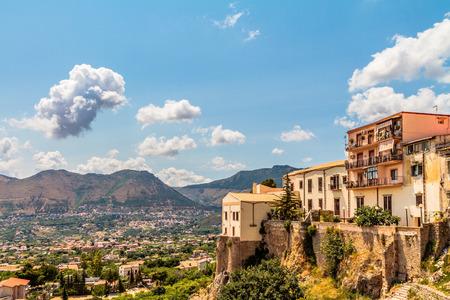 summer landscape: Summer Landscape of Sicily and Cityscape of Palermo, shot from Monreale Stock Photo