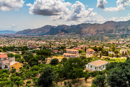 Summer Landscape of Sicily and Cityscape of Palermo, shot from Monreale photo