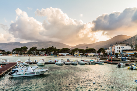 palermo   italy: PALERMO, ITALY - JUNE 27 2014: Palermo Boat Harbor on a warm summer evening in Sicily, Italy. Lovely Mediterranean Atmosphere Editorial